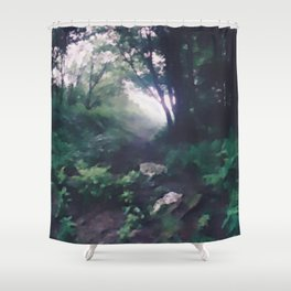 """ Forest Beckoning "" Shower Curtain"