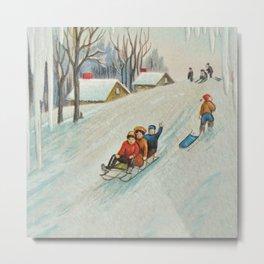 Happy vintage winter sledders Metal Print