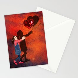 Little girl catch a balloon Stationery Cards