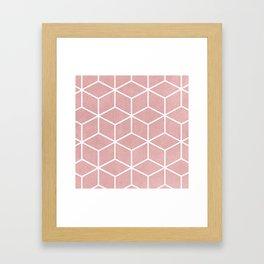 Blush Pink and White - Geometric Textured Cube Design Framed Art Print