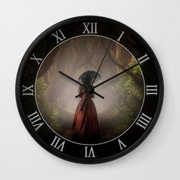 Satin red dress Wall Clock