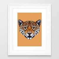 jaguar Framed Art Prints featuring Jaguar by peachandguava