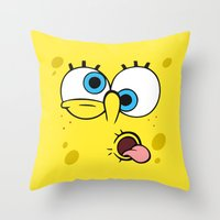 spongebob Throw Pillows featuring Spongebob Crazy Face by Cute Cute Cute