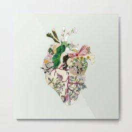 Vintage Botanical Heart On Green Metal Print