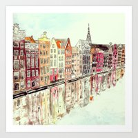 amsterdam Art Prints featuring Amsterdam by Rebecca Mcmillan