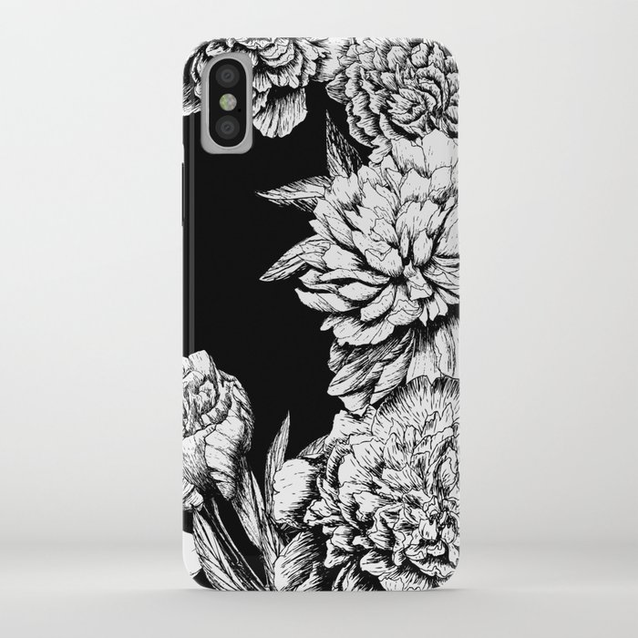 FLOWERS IN BLACK AND WHITE iPhone Case
