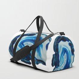 Blotchy Blue Brain Agate Slice Duffle Bag