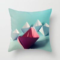 boats Throw Pillows featuring Boats by Studio Samantha