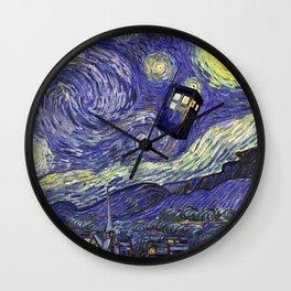 VAN GOGH STARRY NIGHT TARDIS Wall Clock