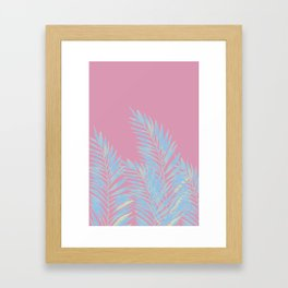 Palm Leaves Blue And Pink Framed Art Print