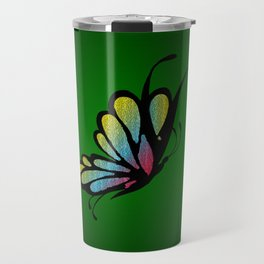 Mosaic Butterfly on Emerald Green Travel Mug