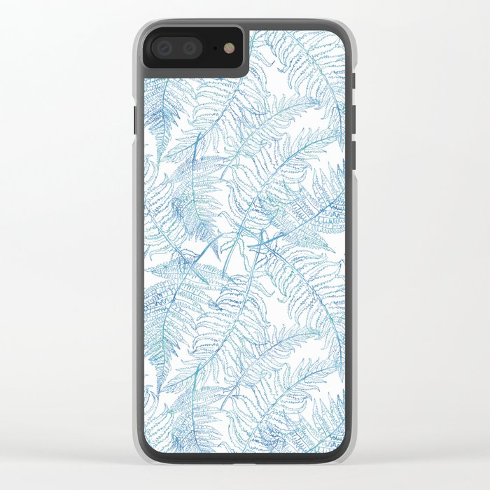 Fern Silhouette Blue Clear iPhone Case