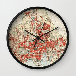 Vintage Map of Oslo Norway (1911) Wall Clock