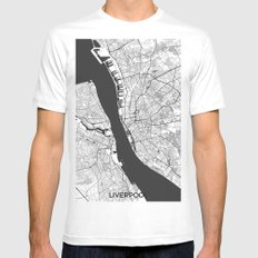 Liverpool Map Gray Mens Fitted Tee MEDIUM White