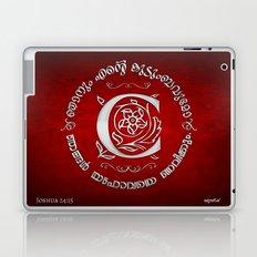 Joshua 24:15 - (Silver on Red) Monogram C Laptop & iPad Skin