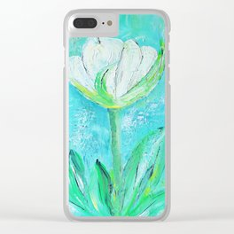 the white tulip Clear iPhone Case