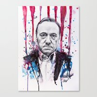 frank underwood Canvas Prints featuring Frank Underwood - House of Cards by Denise Esposito