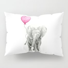 Elephant Watercolor Pink Balloon Baby Animal Nursery Girl Art Pillow Sham