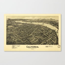 Aerial View of California, Pennsylvania by T.M. Fowler (1902) Canvas Print