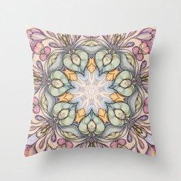vintage flowers hand drawn and  kaleidoscope mandala Throw Pillow