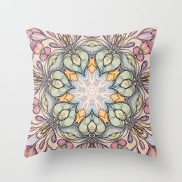 vintage flowers hand drawn and  kaleidoscope mandala Throw Pillow