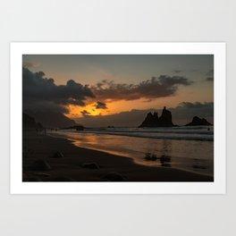 Sunset Beach in Golden Hour Art Print