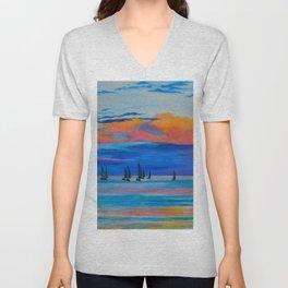 I'd Rather Be Sailing by Teresa Thompson Unisex V-Neck