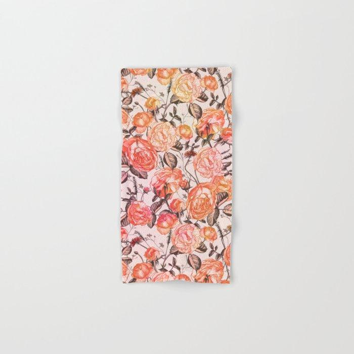 Vintage Floral Watercolor Pattern Hand & Bath Towel