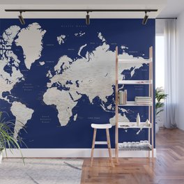 """Navy blue and light brown detailed world map """"Gavin"""" Wall Mural"""