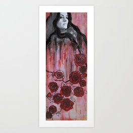 Red roses and me Art Print