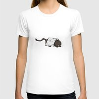newspaper T-shirts featuring Sassafrass Newspaper Kitty by Holly Helgeson