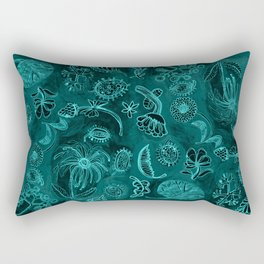 Botanicals in Teal on Dark Background Rectangular Pillow