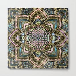 Flower of Life in Lotus - Marble and Gold Metal Print