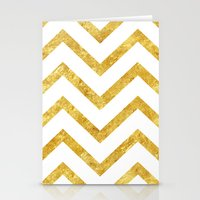 gold foil Stationery Cards featuring Gold Foil Chevron by NeoQlassical