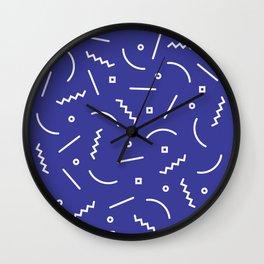 Post Modern Pattern in Blue Wall Clock