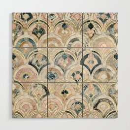 Art Deco Marble Tiles in Soft Pastels Wood Wall Art