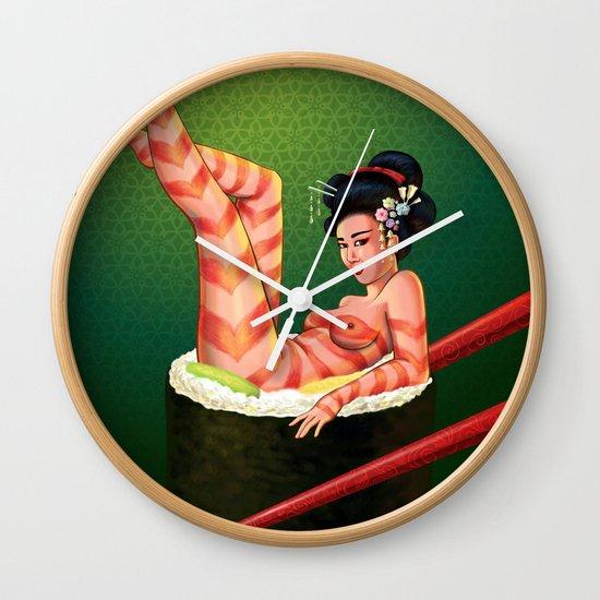 Sushi Girl Wall Clock