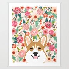 Welsh Corgi cute flowers spring summer garden dog portrait cute corgi puppy funny god illustrations Art Print