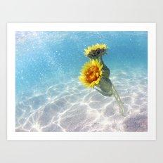 Underwater Sunflowers  Art Print