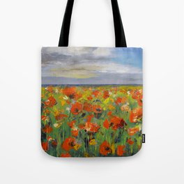 Poppy Field with Storm Clouds Tote Bag