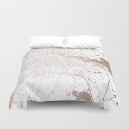 Amsterdam White on Rosegold Street Map Duvet Cover