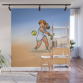 Tennis girl hitting a backhand Wall Mural