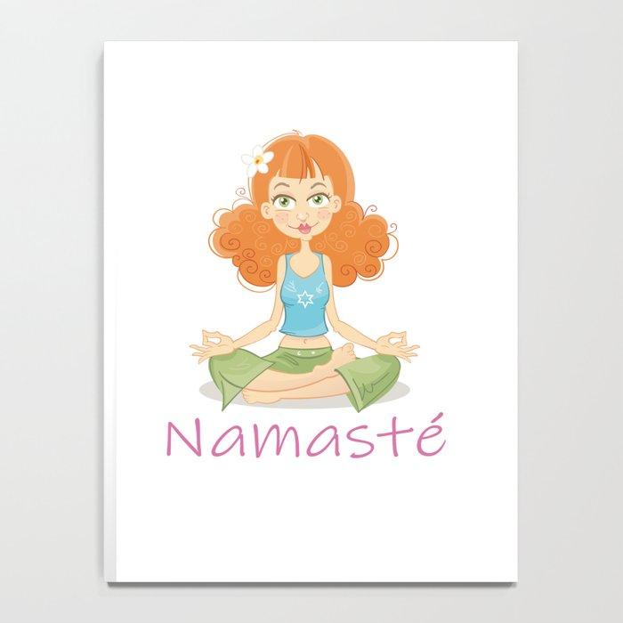 Smiling Girl practising Yoga Lotus Pose Notebook