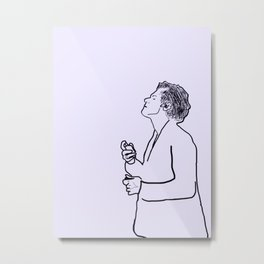 Harry Styles Minimal Purple Metal Print