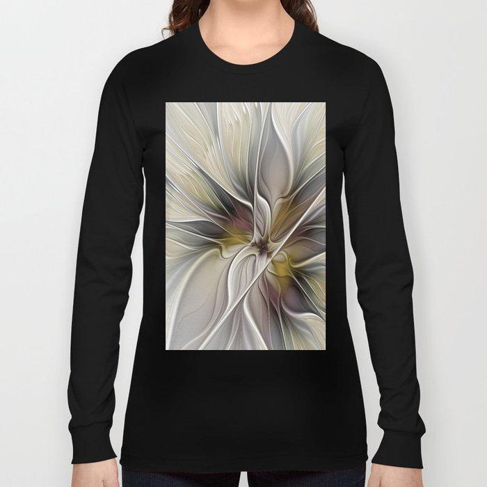 Floral Abstract, Fractal Art Long Sleeve T-shirt