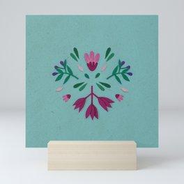 Light blue folk scandi flowers Mini Art Print