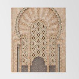 Door of Hassan II Mosque in Casablanca Morocco Throw Blanket