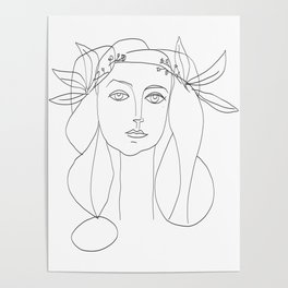 Picasso Line Art - Woman's Head Poster