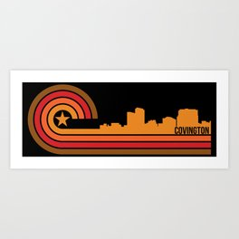 Retro Covington Kentucky Skyline Art Print