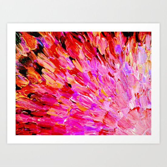 SEA SCALES IN PINK - Hot Pink Feminine Beach Ocean Waves Feathers Abstract Acrylic Painting Fine Art Art Print